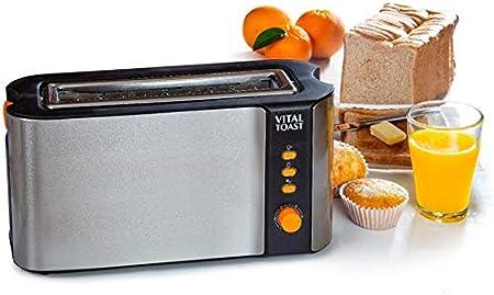 Opinión sobre XSQUO Useful Tech Vital Toast TOSTADORA Capacidad Dos Tostadas Ranura XL. 1000W DE Potencia Funcion DESCONGELADO Y RECALENTAR. 6 Niveles DE Potencia Y Parrilla Naranja