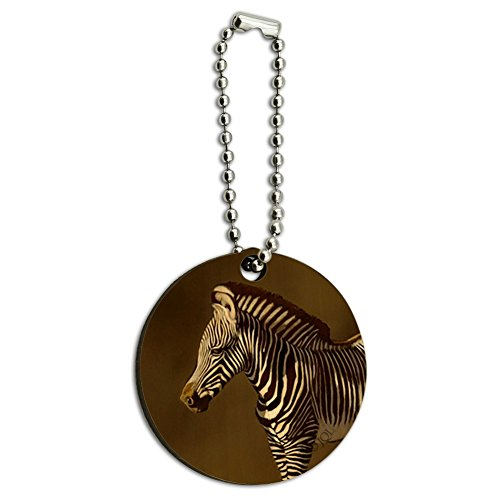 Baby Zebra Young Foal Wood Wooden Round Keychain Key Chain Ring ()