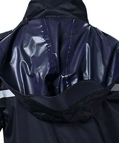 ICREEK RAINCOAT WATERPROOF MEN'S LONG RAIN JACKET LIGHTWEIGHT RAINWEAR REFLECTIVE REUSABLE WITH HOOD