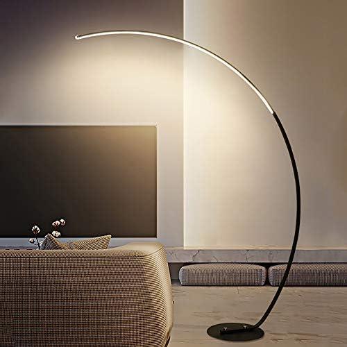 LED Stehlampe (Bogenleuchte) dimmbar (Modern) in Schwarz aus Metall, für Arbeitszimmer & Büro (1 flammig, A+, inkl. Leuchtmittel) - LED-Stehleuchte, Floor Lamp, Standleuchte