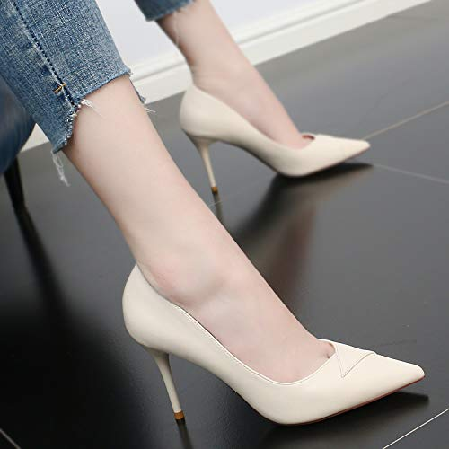Thin Shallow Heel Head Summer Thin Sexy Sharp Shoes KPHY Wedding And High Women'S And Thin Temperament Beige 9Cm In Shoes 7EwOt