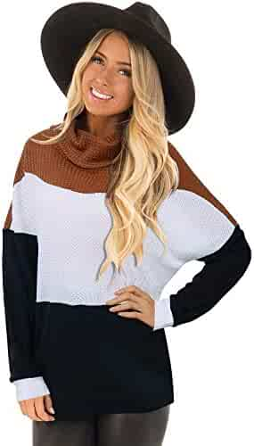 Women's Chunky Cowl Neck Sweater Color Block Long Sleeve Loose Knitted Pullover Tops