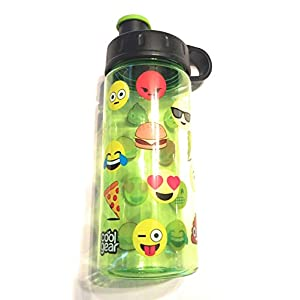 "Cool Gear 16 OZ Water Bottle. ""Face Emojis"" Light Green,"