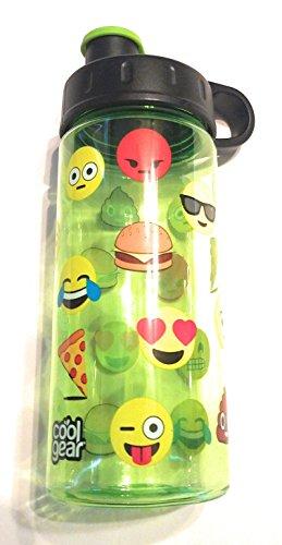 """Cool Gear 16 OZ Water Bottle. """"Face Emojis"""" Light Green,"""