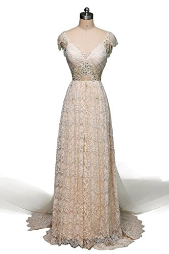 JAEDEN Cap Sleeve Lace Wedding Dress Sexy Bridal Gown BacklessChampagne US2 (Sexy Western Dress)
