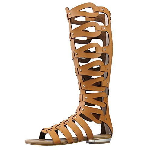 Flat Brown Boots Summer fereshte Sandals Women's Knee Cut High Gladiator Out nxwxXqF4vZ