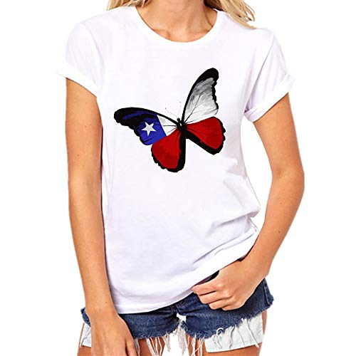 ASOBIMONO Womens Cotton T Shirts USA American Flag Butterfly Graphic Tees Loose Fit Short Sleeve Tops White