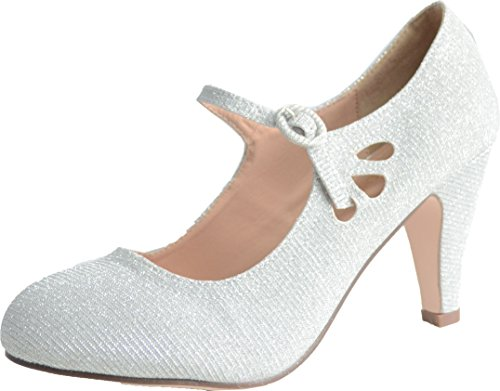 Chase & Chloe Kimmy-21 Women's Round Toe Pierced Mid Heel Mary Jane Style Dress Pumps Silver Glitter