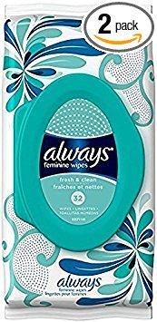 Always Feminine Wipes, Fresh & Clean, 32 Wipes (Pack of ...