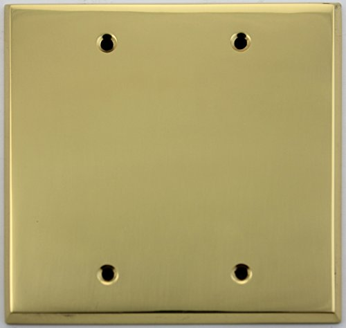 Polished Brass 2 Gang Blank Wall Plate by Classic Accents