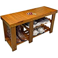 Walnut Finish Shoe Storage Bench Featuring the Choice of Your Favorite Football Team Logo (Redskins Helmet)