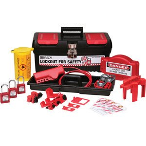 Brady® Black, Red And Yellow Personal Valve And Electrical Lockout Kit Includes (9) Lockouts, (3) Group Lockout Hasps, (3) Heavy Duty Lockout Tags, (1) Medium Lockout Toolbox And (3) Keyed Alike Safety Padlocks by Brady USA
