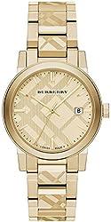 Burberry BU9038 City Unisex Watch - Gold Dial Stainless Steel Case Quartz Movement