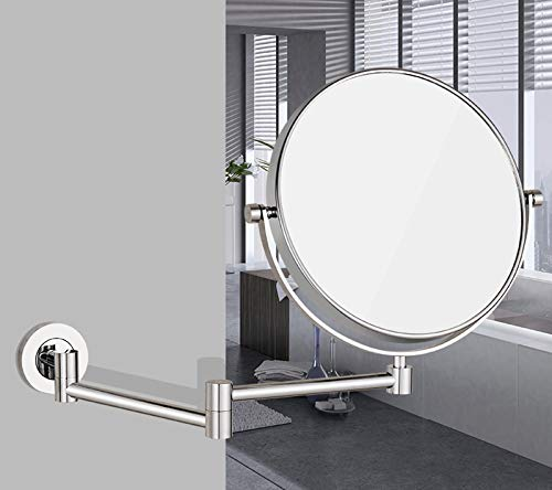 Bathroom Wall-mounted HD Makeup Mirror Toilet Wall Hanging Foldable Telescopic Double-sided Magnifying Beauty Vanity Mirror (Color : Stainless steel) by Wall-mounted Folding Mirror (Image #1)