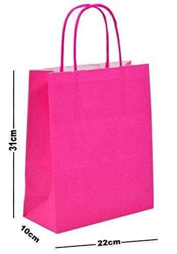 Amazon.com: Color rosa bolsas de regalo de papel A4 ...