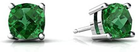 4MM-9MM Sterling Silver MAY Simulated GREEN EMERALD ROUND Stud Earrings