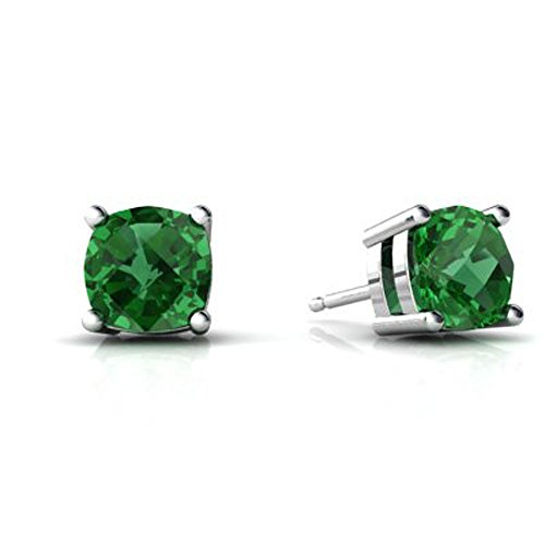 4mm Emerald Stud Earrings - 4MM-9MM Sterling Silver MAY Simulated GREEN EMERALD ROUND Stud Earrings