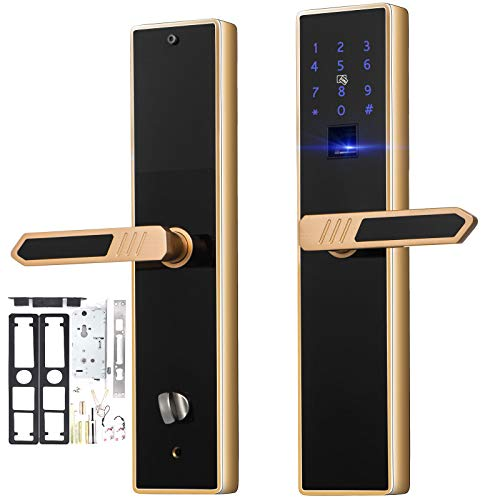 Happybuy 4-Way Electronic Smart Door Lock Biometric Keyless Lock Fingerprint Touch Screen Password IC Cards and Keys Unlocking Ways Home Office Entry Door Security Reversible Handle Gold and Black ()