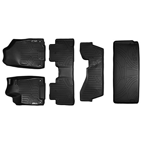 SMARTLINER Floor Mats and Cargo Liner Behind 3rd Row Set Black for 2014-2018 Acura MDX with 2nd Row Bench Seat (No Hybrid Models)