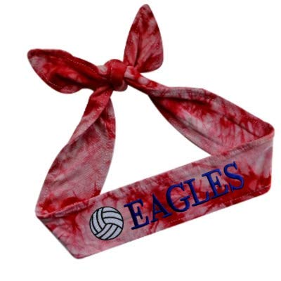 Funny Girl Designs Volleyball TIE Back Moisture Wicking Headband Personalized with The Embroidered Name of Your Choice (TIE DYE - RED) ()