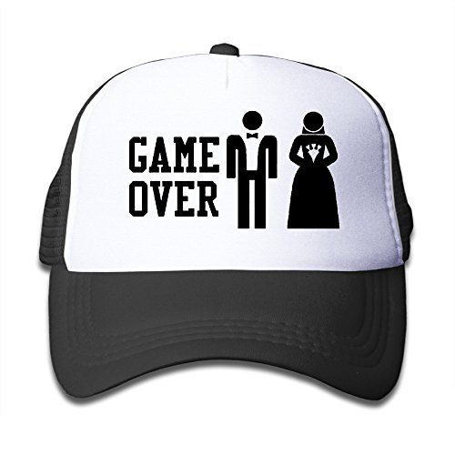 GAME OVER Funny Bachelor Party, Wedding Groomsman Humor Unisex Mesh Hat Trucker Style Outdoor Sports Baseball Cap With Adjustable Snapback Strap For Kid's Black One Size