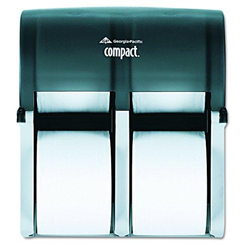 Compact 4-Roll Quad Coreless High-Capacity Toilet Paper Dispenser by GP PRO (Georgia-Pacific), Translucent Smoke, 56744, 11.750
