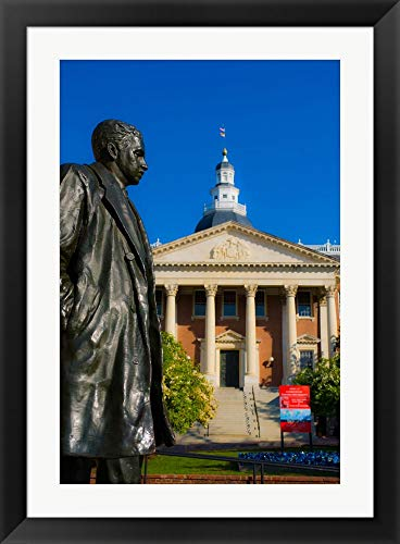 Statue with a State Capitol Building in The Background, Annapolis, Maryland, USA by Panoramic Images Framed Art Print Wall Picture, Black Flat Frame, 28 x 38 inches