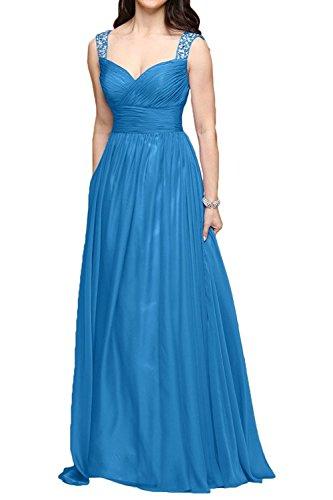 A Chiffon Festlichkleider Traeger Ballkleider Braut Promkleider La mia Zwei Wassermelon Blau Linie Abendkleider Partykleider fqXU4wvW