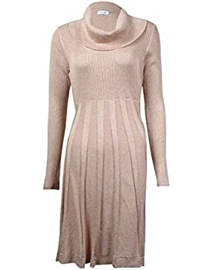 Calvin Klein Womens Cowl Neck Metallic Sweaterdress