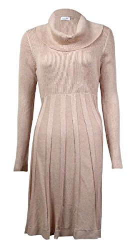 Calvin Klein Womens Cowl Neck Metallic Sweaterdress Photo #4