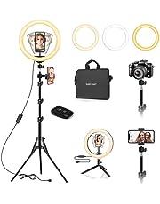 Safecourt - Ring Lamp - Verstelbaar statief - Groot en klein statief - Opbergtas - Verschillende kleuren en intensiteiten - Ringlight - USB flitser - Tiktok lamp - Studio lamp - Make-up light