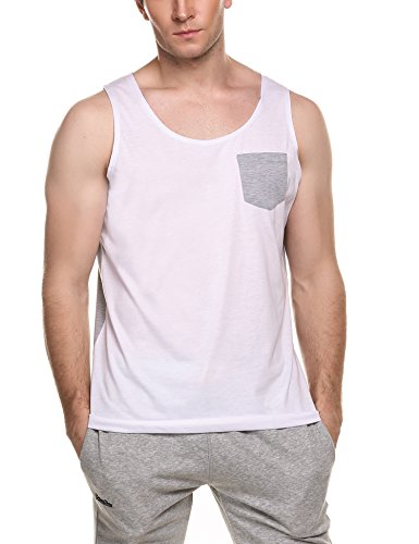 Coofandy Men's Contrast Color Jersey Tank Top Patchwork Sleeveless Shirt with Pocket (With Tops Mens Tank Pocket)