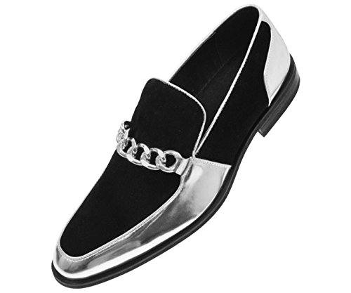 Amali Mens Microfiber Slip On Dress Shoe With Large Chain Style - Shiney Silver