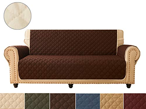 Ameritex Sofa Cover, Reversible Quilted Furniture Protector, Ideal Loveseat Slipcovers for Pets & Children, Water Resistant, | Double line Checkered Grid Blue (Pattern1:Chocolate/Beige, XL Sofa) (Original Xl Cover)