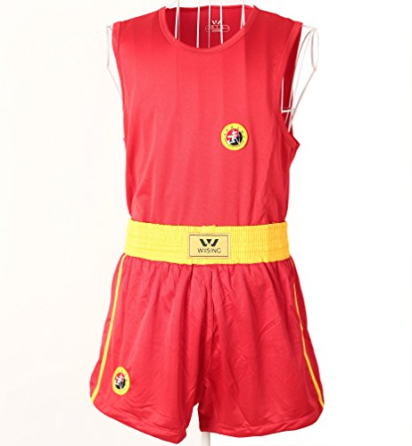 wushu sanda uniform kick boxing sanda suit plus size and kids xxs -5xl sanshou set wesing (RED, S)