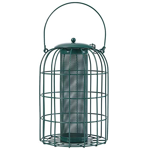 PHI VILLA Bird Feeder - Squirrel Proof - Caged Tube Feeder, Green ()