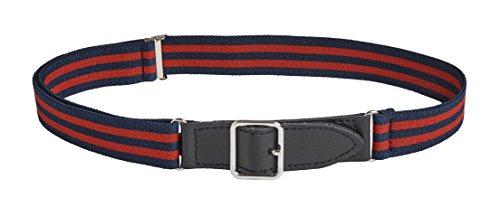Sportoli Kids Elastic Adjustable Leather Front Stretch Belt Hook n Loop Closure - Red/Navy Bar Stripes