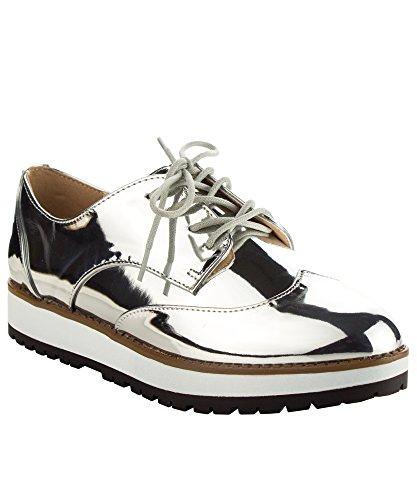 Qupid Women's Fashion Metallic Saddle Shiny Lace Up Flatform Platform Oxford SILVER (Lace Up Platform Saddle Shoe)