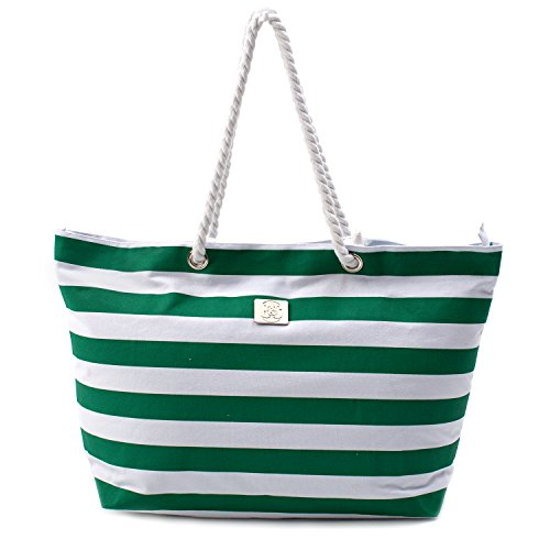 Holiday Womens Bag - Large Canvas Beach Bag - Top Zipper Closure - Waterproof Lining - Perfect Tote Bag For Holidays (Green)