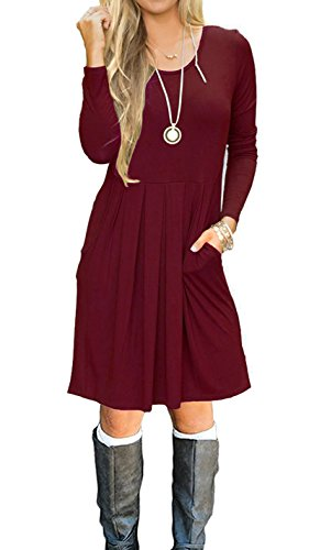JOSIFER Casual Long Sleeve Plus Size T Shirt Dresses For Women Wine Red,2XL