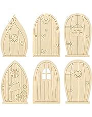 B/R Fairy Garden Doors 6 Designs of Wooden Fairy Doors DIY Craft Kit Blank Unfinished Tooth Fairy Door Miniature,24PCS,3.9 X 2.5 Inches