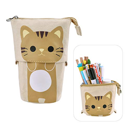 iSuperb Transformer Stand Store Pencil Holder Canvas+PU Cartoon Cute Cat Telescopic Pencil Pouch Bag Stationery Pen Case Box with Zipper Closure 7.5 x 4.9 x 3.0inch/4.1x 3.0inch (Khaki)