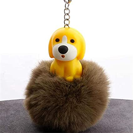 Amazon.com: Rarido Dog Porte Clef Women Fluffy Keychain ...