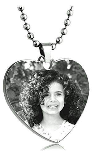 Personalized Heart Custom Photo Color Engraved Dog Tag Necklace Pendant with 24 inch Stainless Steel Chain, Velvet Giftpouch and Keyring