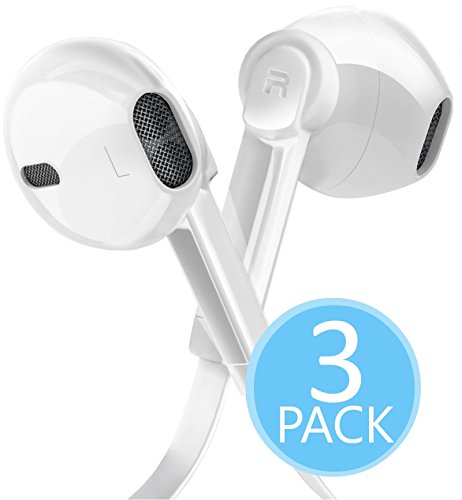In-Ear Hi-Fi Stereo Noise Isolating Sport Headphones (Earphones / Earbuds) Flat Wired with Apple iOS Samsung and Android Compatible Microphone and Remote (White) 3 Pack by Power Gadgets ⚡