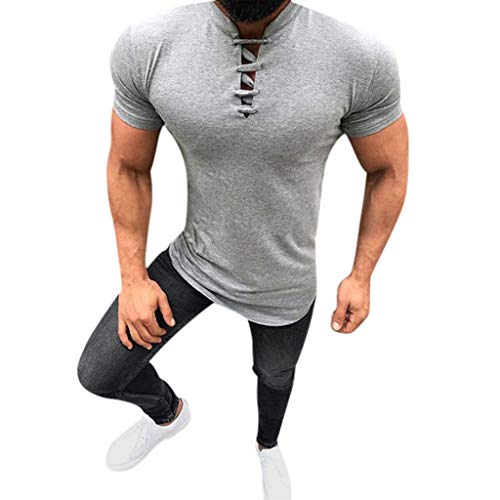 (GDJGTA Tops for Mens Summer Fashion Solid Stand Collar Drawstre Short Sleeve Fitness Casual Tops Gray)