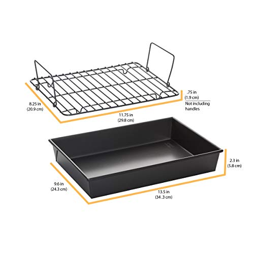 Chicago Metallic 16947 13 by 9 by 2-1/4-Inch Non-Stick Roast 'N Broil Pan with Non-Stick Rack
