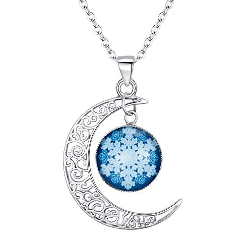 Collection Fluorescent Pendant - EleQueen Women's 925 Sterling Silver Crescent Moon Snowflake Fluorescent Pendant Necklace, rolo chain, 20''