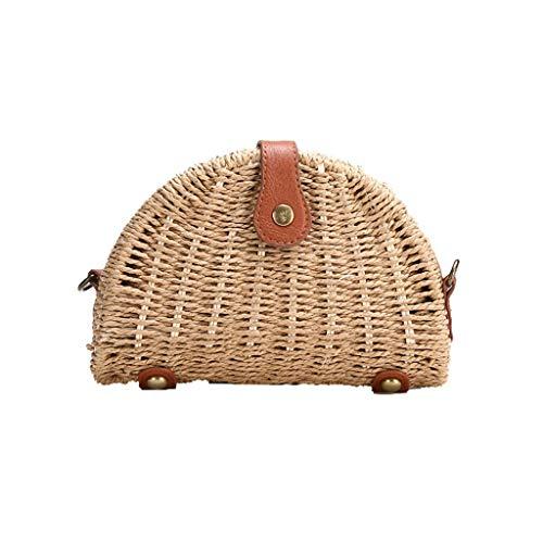 (HongMong Weave Mini Beach Woman Shoulder Ladies Bags Bohemian Style Leisure Hand Bags)