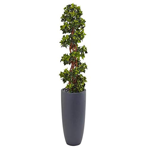 - Artificial Tree -5 Foot English Ivy Spiral Topiary Tree Cylinder Planter